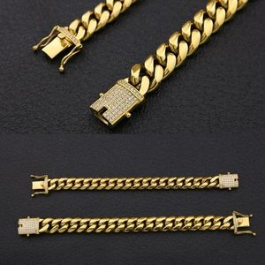 18K Cuban Link Bracelet with Iced Clasp